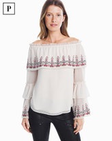 White House Black Market Petite Embroidered Off-the-Shoulder Blouse