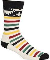 Pendleton Jacquard Crew Socks Ivory National Park Stripes M