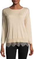 Joie Lace-Trimmed Sweater, Mushroom