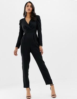 Forever New plunge neck jumpsuit in textured leopard print-Black