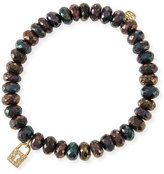 Sydney Evan 8mm Faceted Brown Mystic Pyrite Beaded Bracelet w/14k Gold Padlock Charm