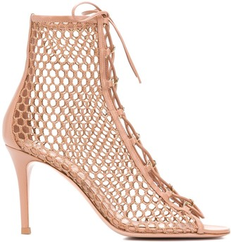 Gianvito Rossi Woven Lace Up Sandals