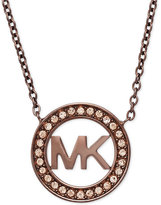 Michael Kors Ion-Plated Pavé Logo Pendant Necklace