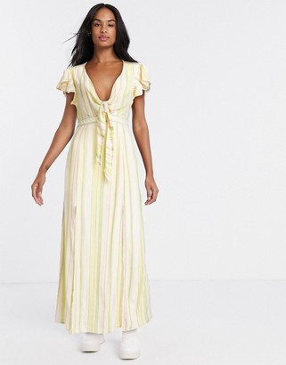 Gilli tie front maxi dress with cut out back detail in pastel stripe
