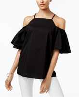 Alfani Prima Flutter-Sleeve Cold-Shoulder Top, Created for Macy's