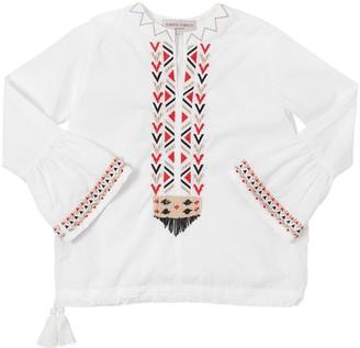Alberta Ferretti Embroidered Cotton Poplin Shirt