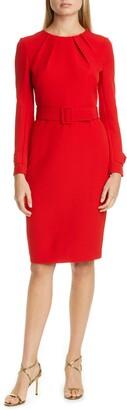 Badgley Mischka Collection Long Sleeve Belted Sheath Dress