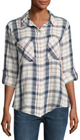 Sanctuary The Steady Boyfriend Plaid Shirt, White Pattern