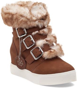 J/Slides Spat Faux Fur Trim Wedge Bootie