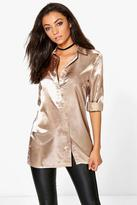 Boohoo Tall Eady Satin Oversized Button Shirt