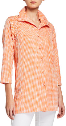 Caroline Rose Petite Button-Front Crinkled Gingham Shirt with Ruched Collar