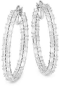 Adriana Orsini Women's Gia Rhodium-Plated & Cubic Zirconia Double Lines Hoop Earrings