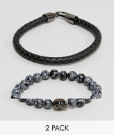 Simon Carter Bead & Leather Bracelet In 2 Pack