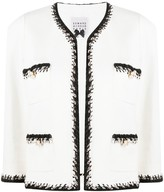Woven-Trim Cropped Jacket