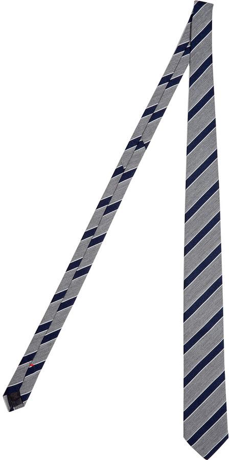Jil Sander Blue Mix Stripe Silk Tie