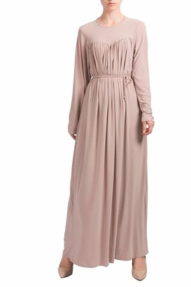 Hijab Gem Front and Back Pleated Abaya-12/52-Beige