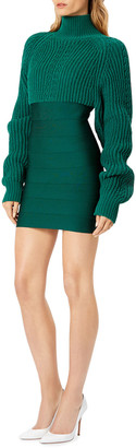 Herve Leger Chunky Turtleneck Mini Dress