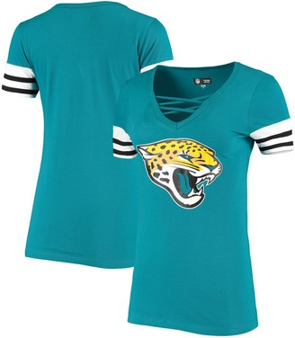 New Era Women's Teal Jacksonville Jaguars Contrast Sleeve Stripe V-Neck T-Shirt
