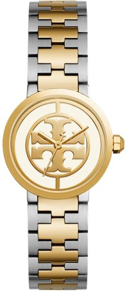 Tory Burch Reva Watch, Two-Tone Gold/Stainless Steel/Ivory, 28 MM