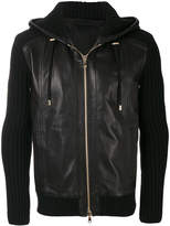 Balmain ribbed leather hoodie
