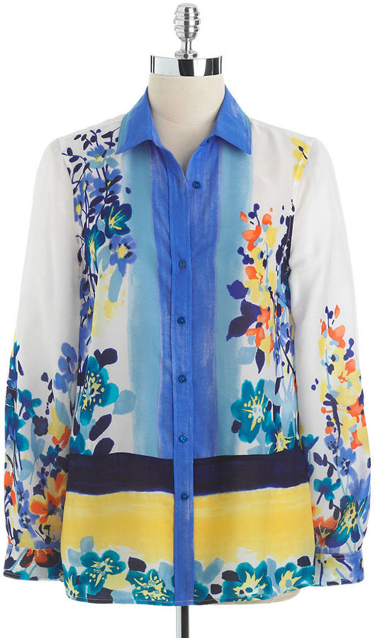 Rafaella WOMENS Plus Floral Print Button-Down Blouse