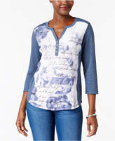 Karen Scott Graphic Henley Top, Created for Macy's