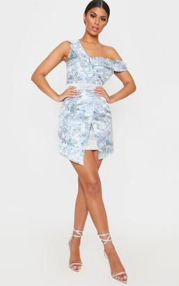 Bardot 4fashion Silver Asymmetric Jacquard Blazer Dress