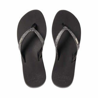 Reef Women's Sandals Star Cushion Sassy | Glitter Flip Flops for Women with Soft Cushion Footbed | Black/Silver | Size 10