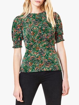 Oasis Confetti Print Short Sleeved Blouse, Green/Multi