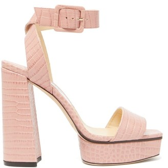 Jimmy Choo Jax Crocodile-effect Leather Platform Sandals - Womens - Pink
