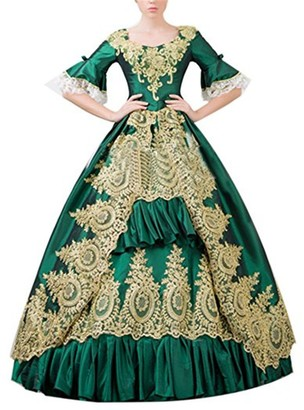 Nuoqi Womens Victorian Dress with Petticoat Medieval Palace Royal Masquerade Vintage Fancy Dress (Green One Size)