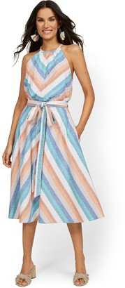 New York & Co. Linen-Blend Multi-Stripe High Halter Midi Dress