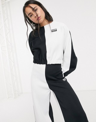 adidas two tone cropped sweatshirt in black and white
