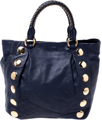 Miu Miu Navy Blue Leather Studded Satchel
