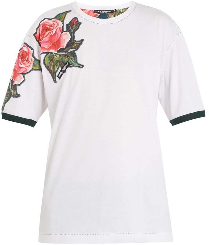 Dolce & Gabbana Rose-appliqué cotton T-shirt