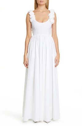 Brock Collection Floral Stretch Cotton Maxi Dress