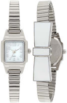 JCPenney FASHION WATCHES Womens Stretch Bow Square Case Watch
