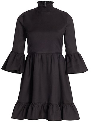 Alice + Olivia Aislyn Flutter-Sleeve Teired Mini Dress