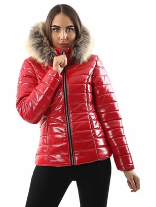 Generic Ladies Quilted Wet Look Coat Red Size 16