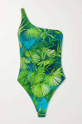 Versace One-shoulder Printed Swimsuit - Green