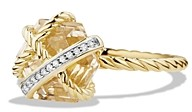 David Yurman Cable Wrap Ring with Champagne Citrine & Diamonds in 18K Gold