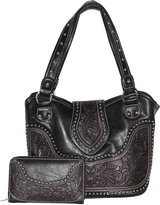 Tooled Leather Shoulder Purse - Handbag with Matching Wallet By Montana West
