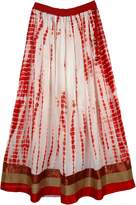 "TLB - Red Ethnic Border Evening Long Skirt- L:38""; W:26""-36"""