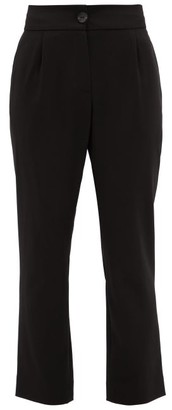 LA COLLECTION Katharina Cropped-leg Wool-blend Trousers - Black