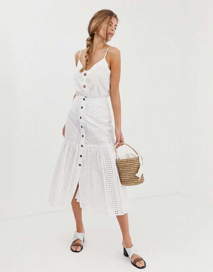 d23cbf261e1 Design DESIGN broderie midi skirt with dropped waist