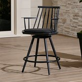 "Crate & Barrel Union Charcoal 24"" Swivel Counter Stool with Sunbrella ® Cushion"