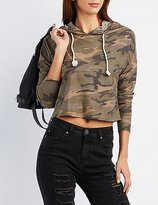 Charlotte Russe Camo Cropped French Terry Hoodie
