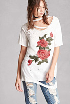 Forever 21 FOREVER 21+ Distressed Rose Embroidery Tee