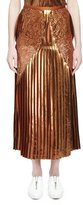 Stella McCartney Gianna Metallic Pleated Lace-Trim Skirt, Sienna