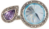Judith Jack Faceted Halo Set Crystal Open Ring - Size 6
